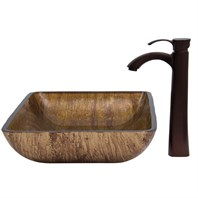 VIGO Rectangular Amber Sunset Glass Vessel Sink and Otis Faucet Set in Oil Rubbed Bronze VGT293