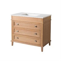 "Stufurhome Norwood 37"" Single Sink Bathroom Vanity with White Quartz Top - Natural Wood TY-7223-37-QZ"