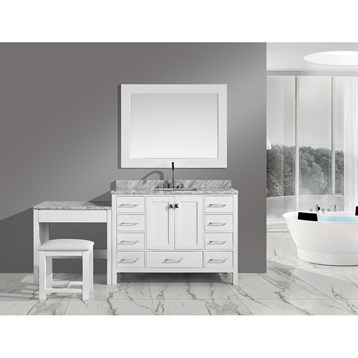 """Design Element London 48"""" Vanity Set with Make-up Table, White DEC082C-W_MUT-W by Design Element"""