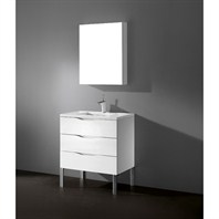"Madeli Milano 30"" Bathroom Vanity with Quartzstone Top - Glossy White Milano-30-GW-Quartz"