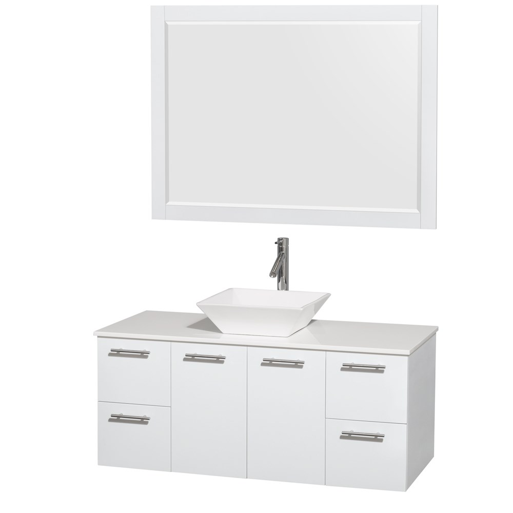 Amare 48 inch Wall Mounted Bathroom Vanity Set with Vessel Sink by Wyndham Collection Glossy White