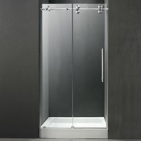 "VIGO 48-inch Frameless Shower Door 3/8"" Clear/Chrome Hardware with White Base - Center Drain VG6041CHCL48WS"