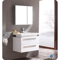 Fresca Medio White Modern Bathroom Vanity with Medicine Cabinet FVN8080WH