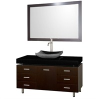 "Malibu 48"" Bathroom Vanity Set by Wyndham Collection - Espresso Finish with Black Absolute Granite Counter, Black Granite Sink, and Handles WC-CG3000H-48-ESP-BLK-GR"