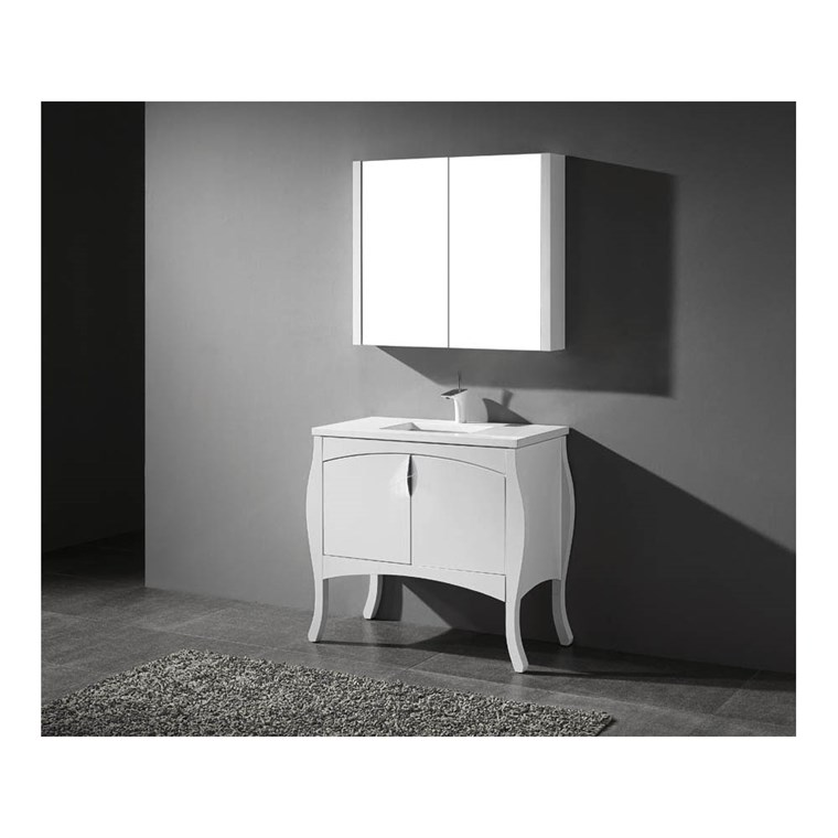 "Madeli Sorrento 39"" Bathroom Vanity for Quartzstone Top - Glossy White B953-39-001-GW-QUARTZ"