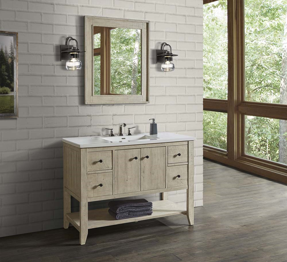 Fairmont designs river view 48 open shelf vanity for integrated top toasted almond free shipping modern bathroom