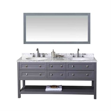 "Stufurhome Marla 72"" Double Sink Bathroom Vanity with Mirror, Grey HD-6868G-72-CR by Stufurhome"