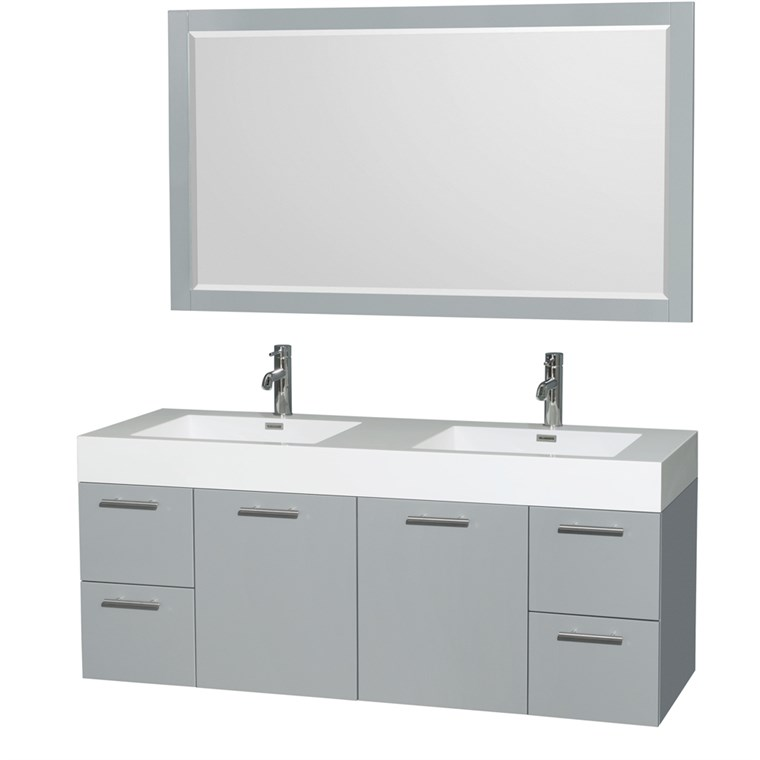 "Amare 60"" Wall-Mounted Double Bathroom Vanity Set with Integrated Sinks by Wyndham Collection - Dove Gray WC-R4100-60-VAN-DVG--"