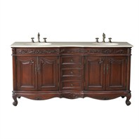 "Stufurhome 72"" Saturn Double Sink Vanity with Cream Marfil Marble Top GM-3323-72-CM"