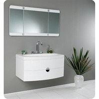 Fresca Energia White Modern Bathroom Vanity with Three Panel Folding Mirror FVN5092PW