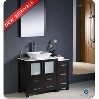 "Fresca Torino 42"" Espresso Modern Bathroom Vanity with Side Cabinet & Vessel Sink FVN62-3012ES-VSL"