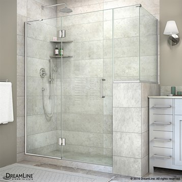 "DreamLine Unidoor-X 59, 60"" W Hinged Shower Enclosure with 12"" W Inline Buttress Panel E59LRBUTTRESS by Bath Authority DreamLine"