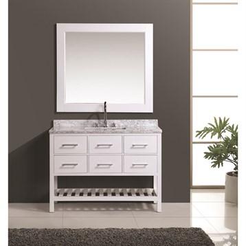 "Design Element London 48"" Vanity Set with Open Bottom, White DEC077D-W-48 by Design Element"