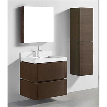 "Madeli Cube 30"" Wall-Mounted Bathroom Vanity for Integrated Basin, Walnut B500-30-002-WA by Madeli"