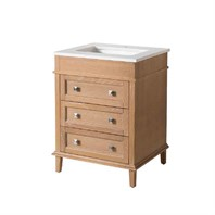 "Stufurhome Norwood 25"" Single Sink Bathroom Vanity with White Quartz Top - Natural Wood TY-7223-25-QZ"