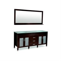 "Belmont decor Dayton 72"" Double Sink Vanity Set with Aqua Marine Tempered Glass Countertop - Espresso DM1D3-72-ESP"