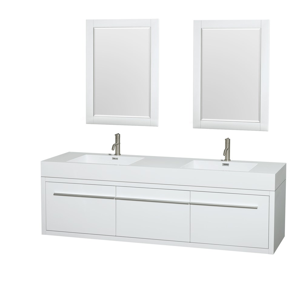 "Axa 72"" Wall-Mounted Double Bathroom Vanity Set With Integrated Sinks by Wyndham Collection - Glossy Whitenohtin Sale $1599.00 SKU: WC-R4300-72-VAN-WHT :"