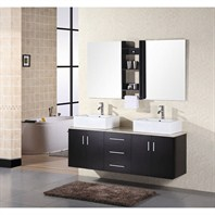 "Design Element Portland 61"" Wall Mount Bathroom Vanity - Espresso DEC004"