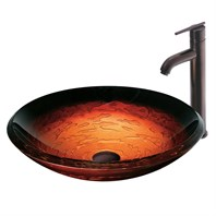 Vigo Industries Magma Glass Vessel Sink w/ Vessel Filler