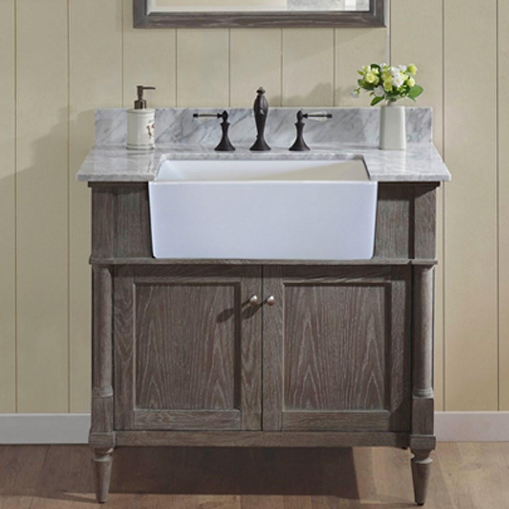 "Fairmont Designs Rustic Chic 36"" Farmhouse Vanity - Silvered Oaknohtin Sale $1359.00 SKU: 143-FV36 :"