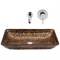 VIGO Rectangular Golden Greek Glass Vessel Sink and Wall Mount Faucet Set VGT286-