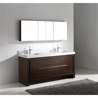 "Madeli Vicenza 72"" Double Bathroom Vanity with Quartzstone Top - Walnut Vicenza-72-WA-Quartz"