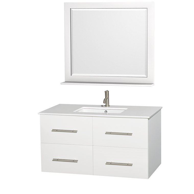 "Centra 42"" Single Bathroom Vanity for Undermount Sinks by Wyndham Collection - Matte White WC-WHE009-42-SGL-VAN-WHT-"