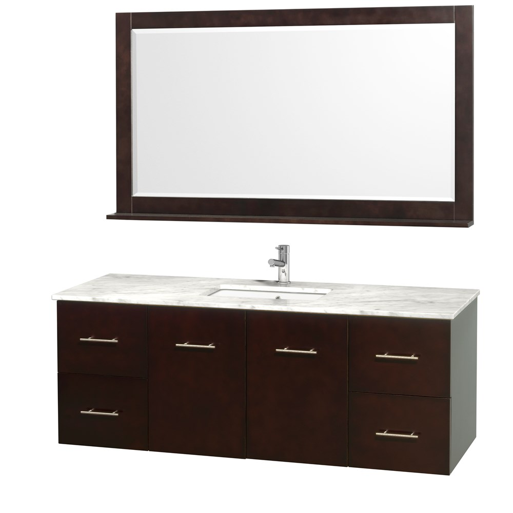 "Centra 60"" Single Bathroom Vanity for Undermount Sinks by Wyndham Collection - Espressonohtin Sale $1299.00 SKU: WC-WHE009-60-SGL-VAN-ESP- :"