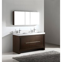 "Madeli Vicenza 60"" Double Bathroom Vanity with Quartzstone Top - Walnut B999-60CD-001-WA-QUARTZ"
