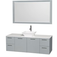 "Amare 60"" Wall-Mounted Single Bathroom Vanity Set with Vessel Sink by Wyndham Collection - Dove Gray WC-R4100-60-DVG-SGL"