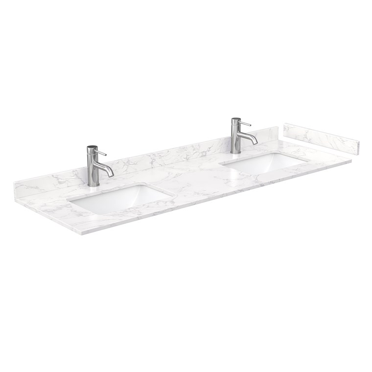 "60"" Single Countertop - Dark-Vein Carrara Cultured Marble with Undermount Square Sink - Include Backsplash and Sidesplash WC-VCA-60-SGL-TOP-UMSQ-CC1"