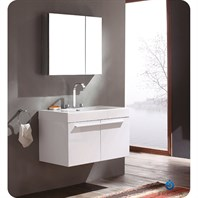 Fresca Vista White Modern Bathroom Vanity with Medicine Cabinet FVN8090WH