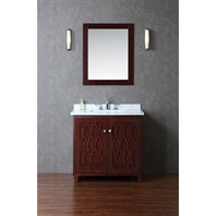 "Seacliff by Ariel Turnberry 36"" Single Sink Vanity Set with Carrera White Marble Countertop - Walnut SC-TUR-36-SWA"