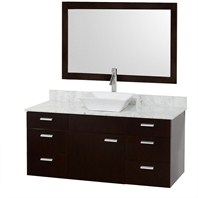 "Encore 52"" Bathroom Vanity Set - Espresso with White Carrera Marble Countertop CG4000-52-ESP-OM-CAR"