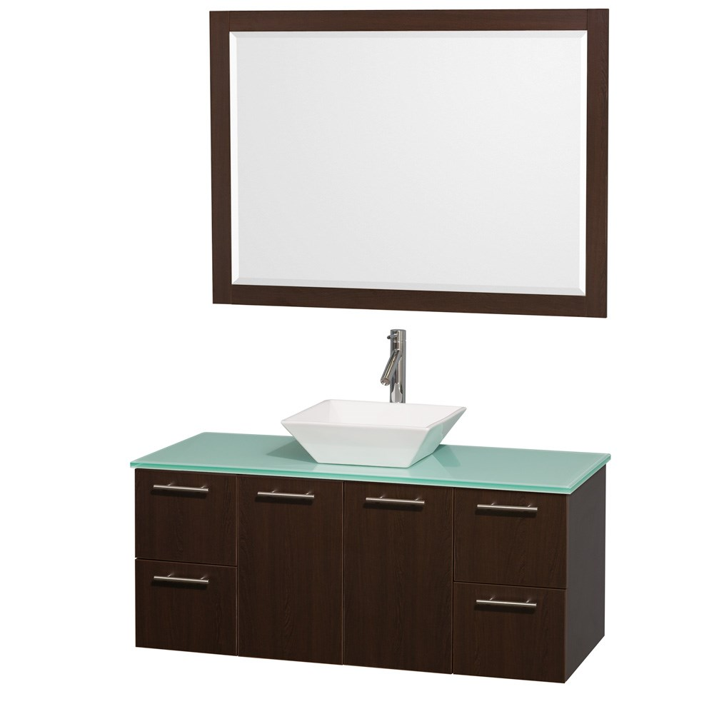 Amare 48 inch Wall Mounted Bathroom Vanity Set with Vessel Sink by Wyndham Collection Espresso