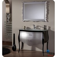"Fresca Platinum Paris 45"" Glossy Silver and Black Bathroom Vanity with Swarovski Handles FPVN7516SL-BL"