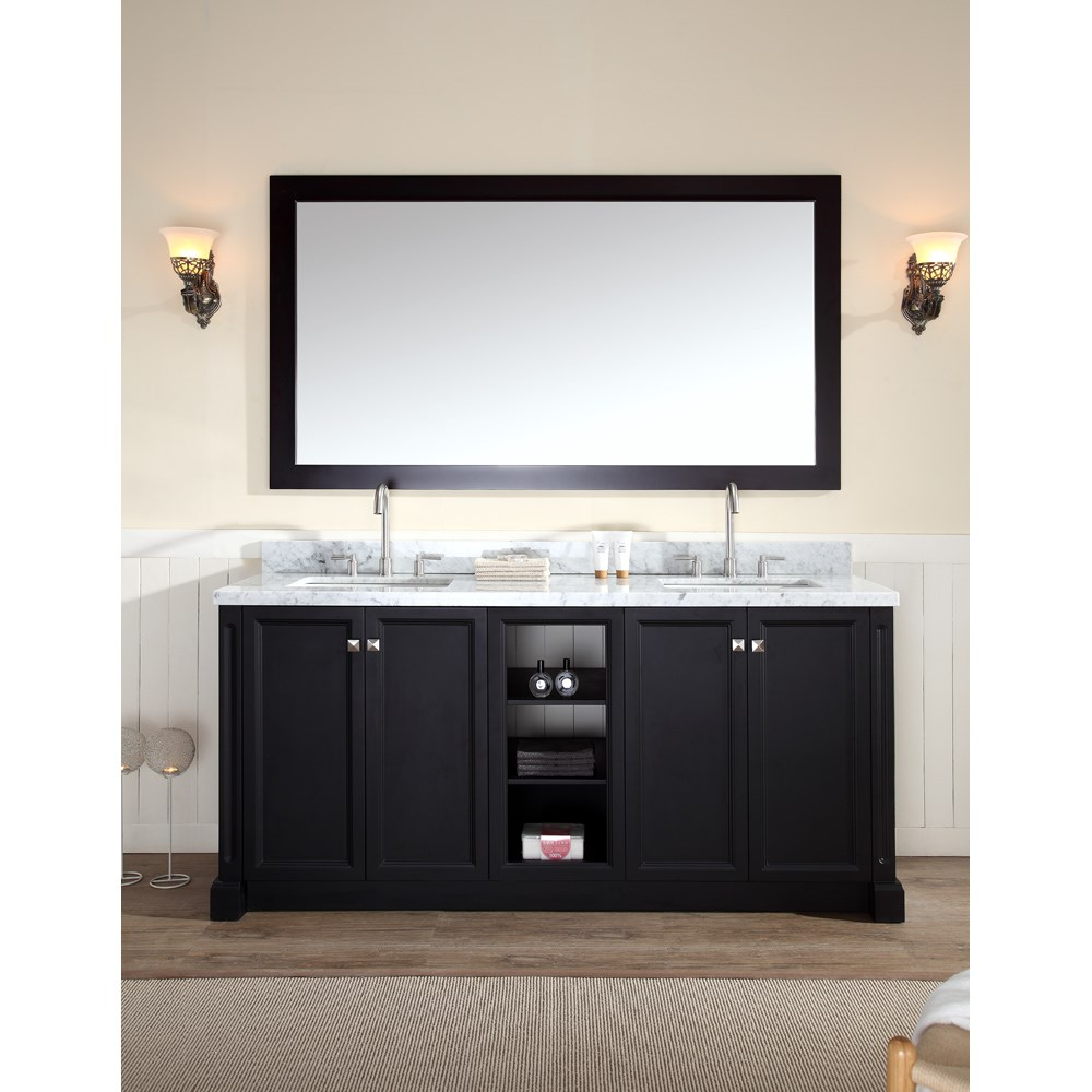 "Ariel Westwood 73"" Double Sink Vanity Set with Carrera White Marble Countertop - Blacknohtin Sale $1749.00 SKU: C073D-BLK :"