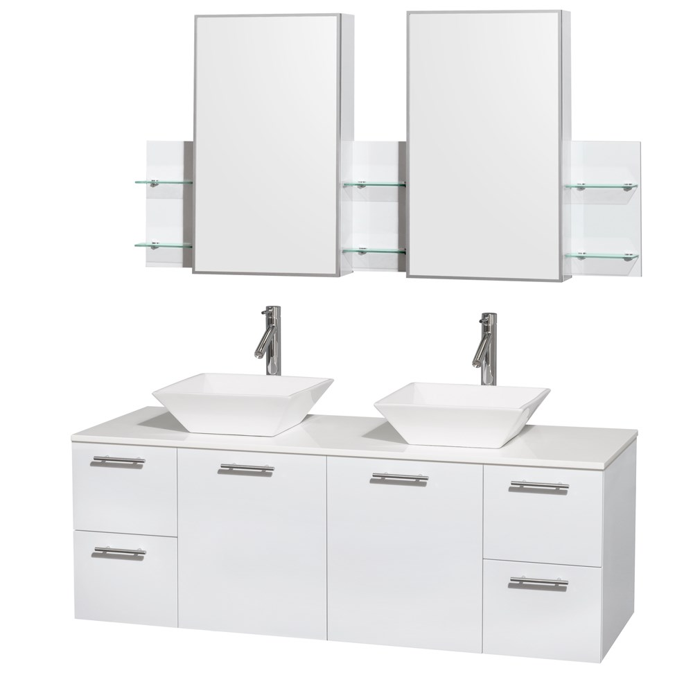 "Amare 60"" Wall-Mounted Double Bathroom Vanity Set with Vessel Sinks by Wyndham Collection - Glossy White"
