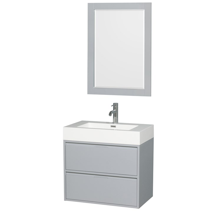 "Daniella 30"" Wall-Mounted Bathroom Vanity Set With Integrated Sink by Wyndham Collection - Dove Gray WC-R4600-30-VAN-DVG"