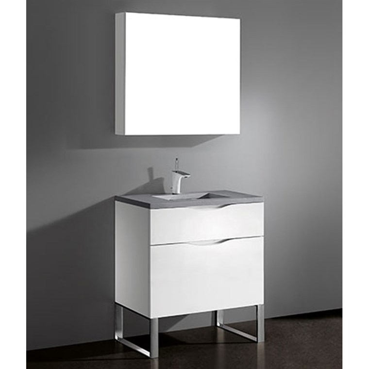 "Madeli Milano 30"" Bathroom Vanity for Quartzstone Top - Glossy White B200-30-021-GW-QUARTZ"