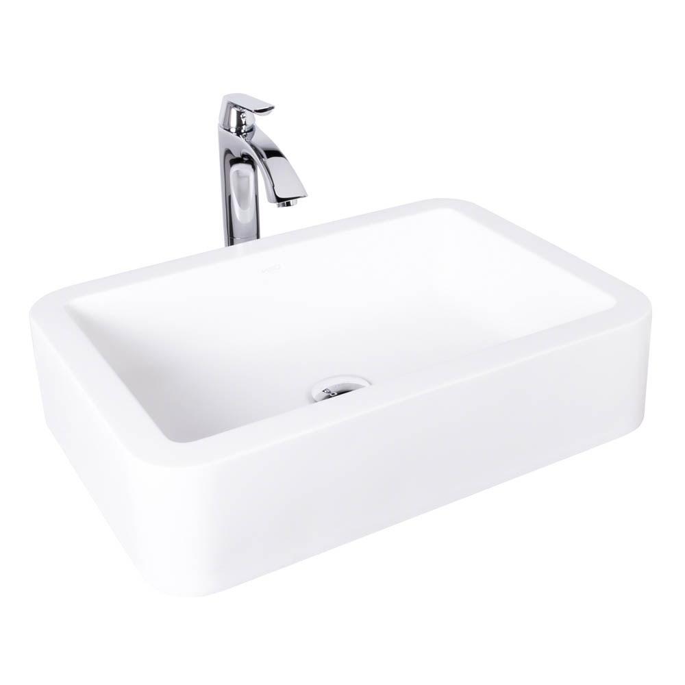 VIGO Navagio Matte Stone Vessel Sink and Linus Bathroom Vessel Faucet in Chromenohtin Sale $259.90 SKU: VGT1007 :