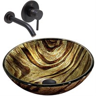 VIGO Zebra Glass Vessel Sink and Olus Wall Mount Faucet Set in Antique Rubbed Bronze VGT351