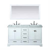 "Stufurhome Newport White 60"" Double Sink Bathroom Vanity with Mirror - White HD-7130W-60-CR"