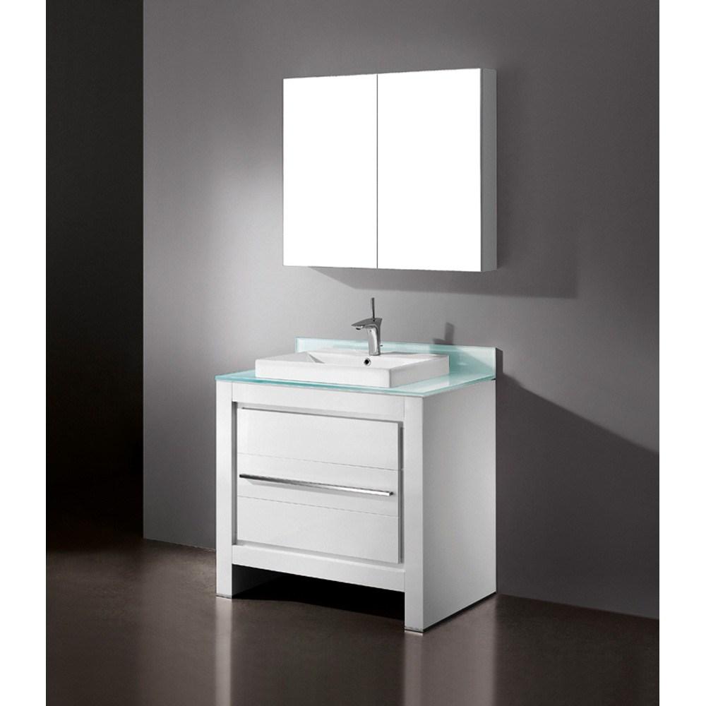 "Madeli Vicenza 36"" Bathroom Vanity - Glossy Whitenohtin"