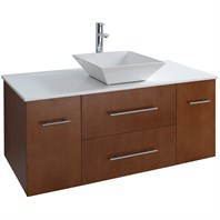 "Bianca 48"" Wall-Mounted Modern Bathroom Vanity - Pear Wood WHE007-48-PR"