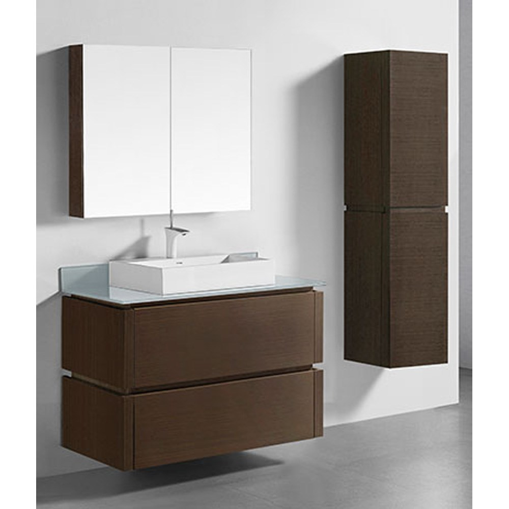 "Madeli Cube 42"" Wall-Mounted Bathroom Vanity for Glass Counter and Porcelain Basin - Walnut B500-42-002-WA-GLASS"