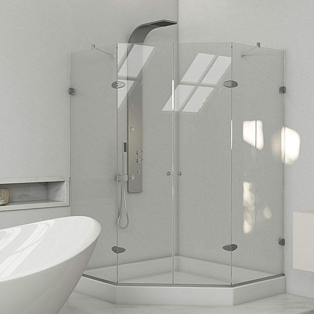 "VIGO Frameless Neo-Angle Double Door Shower Enclosure with Base - 47"" x 47""nohtin Sale $1723.99 SKU: VG6063CHCL47W :"