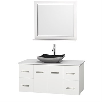 "Centra 48"" Single Bathroom Vanity for Vessel Sink by Wyndham Collection, Matte White WC-WHE009-48-SGL-VAN-WHT_ by Wyndham Collection®"