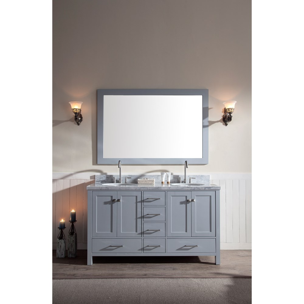"Ariel Cambridge 61"" Double Sink Vanity Set with Carrera White Marble Countertop - Greynohtin Sale $1649.00 SKU: A061D-GRY :"