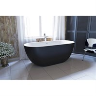 Aquatica Corelia-Black-Wht Freestanding Solid Surface Bathtub - Matte Black and White Aquatica Corelia-Black-Wht